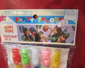 Vintage HAPPY HOME Party favors package of 5 colored flutes kitschy children's toy Woolworth Woolco Hong Kong Retro Graphics
