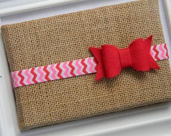 Valentines Bow Headband - Infant headband - Toddler headband - Red Bow Headband