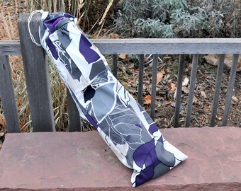 Yoga mat bag, water bottle pocket, Mod Gray Leaves with Plum, Ikea Fabric, upcycled, eco-friendly