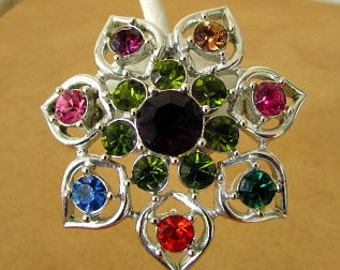 vintage 50s emmons pin brooch pendant multi color rhinestone flower star silver tone signed