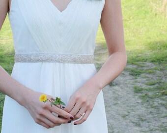 DAKOTA - Beaded Silver Bridal Sash, Wedding Belt