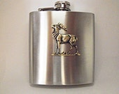 Flask, Brass Elk or Deer,  Stainless Steel Flask 6 Ounces  Mens Gift  Handmade