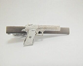 Tie Bar Tie Clip, Mens Silver 45 Automatic Handgun Mens Accessories Handmade