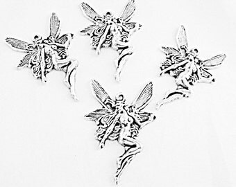 Silver Fairy or Angel Pendants Lot of 4 Large, Jewelry Making Supplies