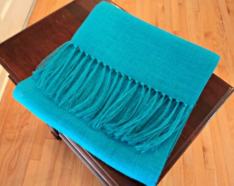 """Turquoise Table Runner with Fringe 14"""" or 16"""" Wide Burlap Table Runner Many Colors Available and Custom Sizes"""