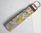 Cotton Linen Leaf Fabric Keychain, Key Fob, Wristlet