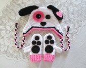 White, Black and Pink Puppy Hat and Mitten Set - Photo Prop - Available in Baby to Toddler Size - Any Color Combination