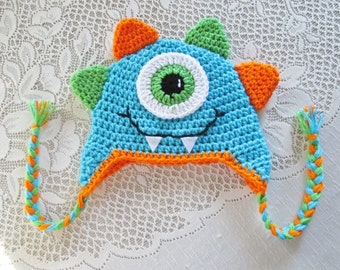 Mr. Monster Crochet Hat - Turquoise, Orange and Lime - Winter Hat or Photo Prop - Available in Any Size or Color Combination