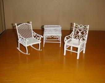 Vintage White Metal Wire Doll Furniture Rocking Chair, Chair + Planter 3 pcs