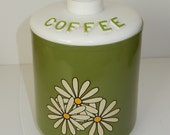 Metal Coffee Canister Olive Green container white daisy vintage kitchen storage container Plastic top  Metal can
