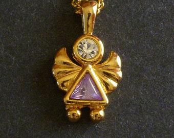 Amethyst Angel Pendant Necklace, Angel Pendant, Purple Pendant Necklace