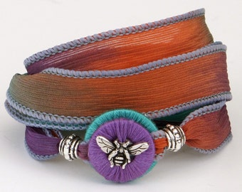 Silk Ribbon, Wrap Bracelet, Whirly Wrap, Honey Bee Silk Wrap, Garden Hues, Teal, Coral, Purple, Necklace. secure magnet,