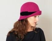 hot pink fur felt hat for women, winter cloche hat, fushia women's winter hat, 20's vintage style felt hat, Downton Abbey hat
