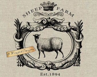 Vintage Sheep Farm Signboard. Instant Download Digital Image No.341 Iron-On Transfer to Fabric (burlap, linen) Paper Prints (cards, tags)