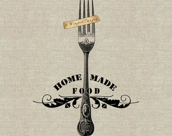 Homemade Food. Instant Download Digital Image No.342 Iron-On Transfer to Fabric (burlap, linen) Paper Prints (cards, tags)