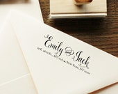 Custom Calligraphy Address Stamp -- Handwritten Calligraphy and Type Single line -- Vintage Reserve Style