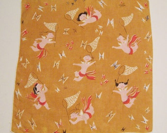 SALE - Vintage Cherubs Catching Butterflies Hankie