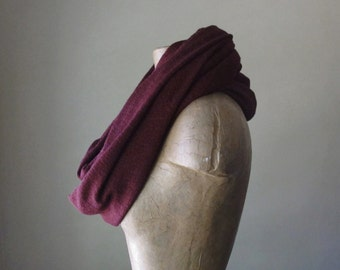 MULBERRY Knit Scarf - Chunky Infinity Fashion Scarf - Maroon Circle Scarf - Chunky Infinity Cowl - Winter Scarf - Snood