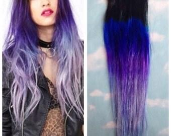Purple Ombre Hair Clip Extensions, Blue Ombre Hair, Purple Ombre Hair, Weave, Human Hair, Full Set, Bundle, Festival, Hippie Hair, Dread
