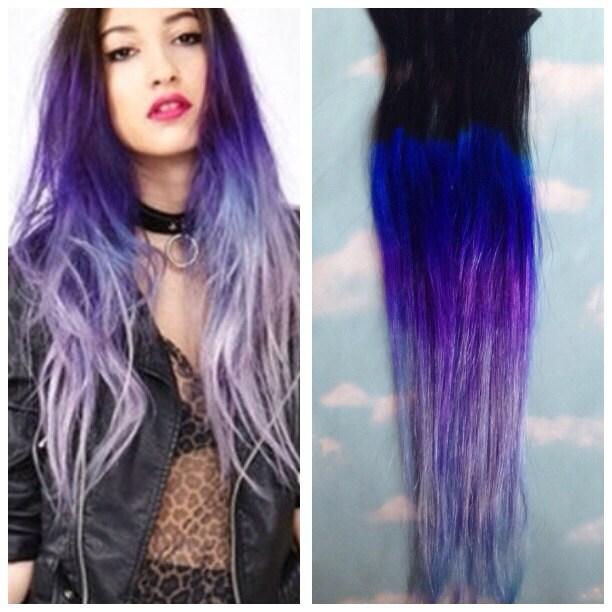 Purple ombre hair clip extensions blue ombre hair purple zoom pmusecretfo Choice Image