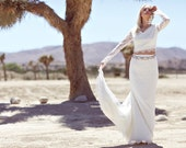 "Ivory Lace Bohemian Bridal Gown, Maxi Dress, Crop Top, Long Sleeve Wedding Dress - ""Gwen"""