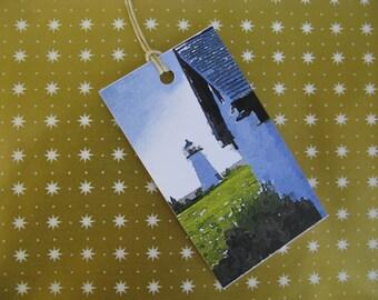 Set of 20 Nautical  Gift Tags Mattapoisett, Massachusetts, Ned's Point Lighthouse Buzzard's Bay Cape Cod