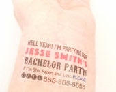 Bachelor Party Custom Temporary Tattoos - Bachelor Party Favors - Pack of 10
