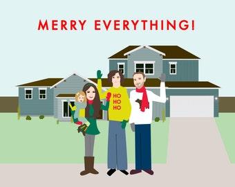 Custom Illustrated Family Christmas Card