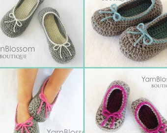 Slippers CROCHET PATTERN -Mommy and Me Slippers- (23 shoe sizes) house slippers shoes baby booties slipper patterns PDF Instant Download