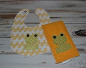 Frog Burp Cloth and Bib Gift Set Baby Frog Bib Frog Burp Cloth Gender Neutral Baby Gift Frog