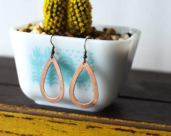 Copper Teardrop Dangle Earrings