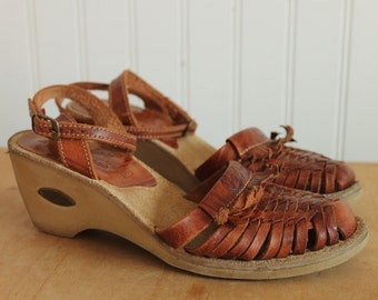 70's Candie's Brown Wedge Huarache Ankle Strap Sandals 5