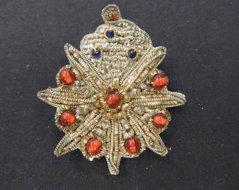 Vintage Sewn Star Beaded Gold, Red & Blue Material Brooch Pin