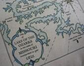 Lake of the Ozarks, Missouri, Vintage Map Pillow, Lake House, Coastal, Blue Pillows, Nautical, Shabby Chic, Beach House, Beach Cottage