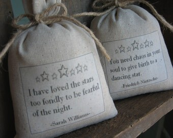 Lavender Sachets, Stars, Quotes, Rustic, Woodland, Farmhouse, Inspirational, Custom Quotes, Shower Gifts, French, Vintage, Set of Two