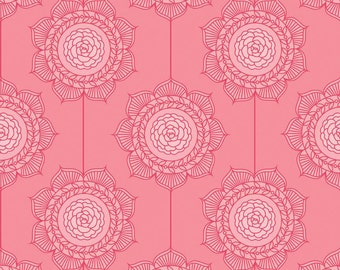 1/2 yard LAMINATED cotton fabric (similar to oilcloth) - 18 x 40 - Wallpaper Pink Cottage Garden - Approved for children's products