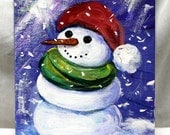 "Christmas in July, Snowman art on 5"" x 7"" canvas board, small painting, wall decor, table decor, original acrylic art, unframed art"