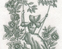 Umbrella Girl on a Swing Embroidered Flour Sack Hand/Dish Towel