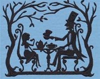 Fairytale Shadows Alice in Wonderland Mad Hatter Tea Party Embroidered Flour Sack Hand/Dish Towel