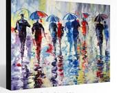 Oil Painting GICLEE Print  Canvas Fine Art Print of ORIGINAL OIL Painting Landscape Painting Umbrellas Painting Rain Cityscape Painting