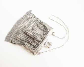 Antique Victorian Mesh Chain Coin Purse Chatelaine