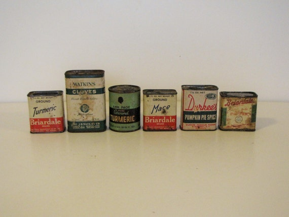 Vintage spice containers tins boxes set of six for Retro kitchen set of 6 spice tins
