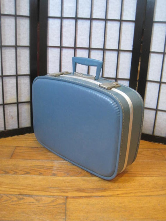 vintage 1960s 1970s carry on suitcase bag unisex small blue