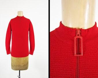 Vintage 60s Zipper Shirt Exmoor Dimmer Skimmer Red Textured Nylon - Women's Medium