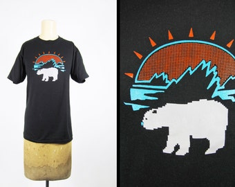Vintage 80s Polar Bear T-shirt Lo Fi Black Sunrise Arctic Ice Sportswear - Small / Medium
