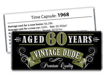 Set of 12 - Vintage Dude Candy Bar Wrappers - 60th Birthday Party Favors Adult Milestone Favors - 30th, 40th, 50th, 60th, 70th - Any Age