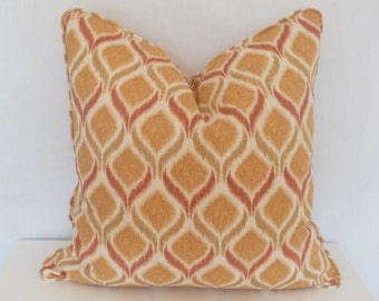 Ikat Throw Pillow, Swavelle /Mill Creek Giorgio|Orange,Red and Cream Accent Modern Pillow| 20x20 Indoor Pillow Cover