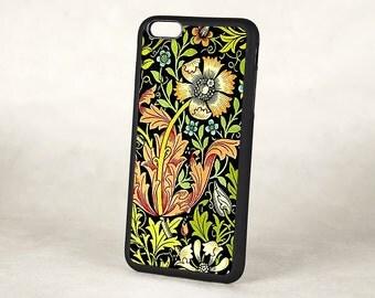 Floral iPhone 5 Case, Vintage William Morris Compton Floral Silicone Rubber iPhone 6 case, Retro iPhone 6 Plus, iPhone 7 Case
