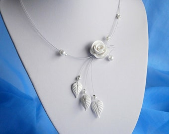 White Necklace, Flower necklace, Bridal Illusion Necklace, Bridesmaid necklace, Delicate necklace