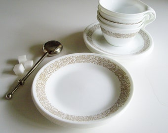 Vintage Corelle Woodland Cups and Saucers and Side Plates - coffee break or breakfast set for 4